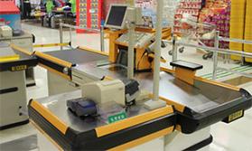滚筒应用于超市收银台